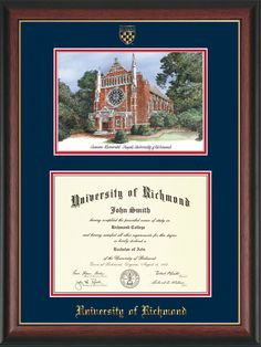 University of Richmond Diploma Frame-Rosewood Gold-Watercolor-Navy/Red – Professional Framing Company Unique Graduation Gifts, Bachelor Master, Embossed Seal, University Of Richmond, Diploma Frame, Gold Lips, Gold Watercolor, Library Of Congress, Custom Framing