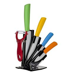 Tuncily Home 6piece Ceramic Knife Set Features 4 Knives of Various Sizes and Peeler on an Acrylic Holder These Ceramic Knives Have Special Blades That Are Ultrasharp Superhard with Multicolor Handles A Nice Addition to Your Kitchen Cutlery Set ** You can find out more details at the link of the image.