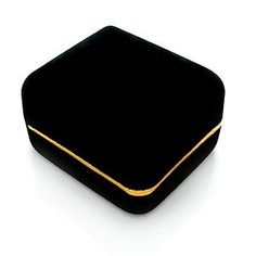 http://cheune.com/store Black Velvet Ring Gift Jewelry Box w/ Gold Trim