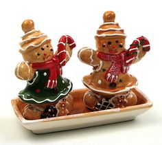 Salt and Pepper Shaker Set Gingerbread Christmas