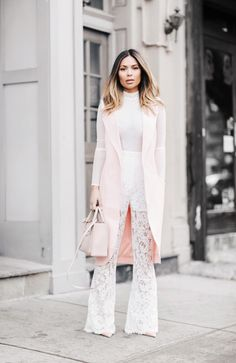 Marianna Hewitt // Life With Me Blog // NYFW Street Style lace pants pink vest balenciaga bag