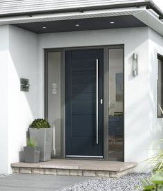 Tigris Extreme external door - JB Kind - also look at step/plant pots/downlights and sofit colour - May 04 2019 at Front Door Steps, Grey Front Doors, Modern Front Door, House Front Door, Front Door Design, House Doors, House With Porch, Front Door Entrance, House Entrance