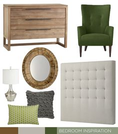 Bedroom Inspiration. Grey, green, and reclaimed wood. Items from a mix of Crate & Barrel, West Elm, Restoration Hardware, CB2 & Pier 1.