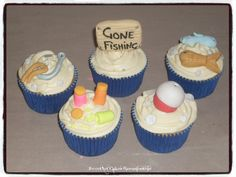 FISHING CUPCAKES Visit our website:  Sweetartbfn.wix.com/home  For more information & orders email SweetArtbfn@gmail.com or call 0712127786. Fondant Toppers, Cupcake Toppers, Fishing Cupcakes, Sweetarts, Icing, Cake Decorating, Sport, Website, Lifestyle