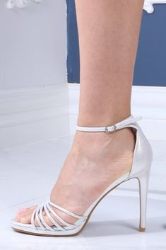 Strappy Heeled Sandals with: Strappy design Open toe style Ankle strap High rise heels Heel height: Silver Strappy Heels, Strappy Sandals Heels, Fashion Shoes, Fashion Accessories, Wedge Boots, Shoe Dazzle, Ankle Strap, Luxury Fashion, Women Wear