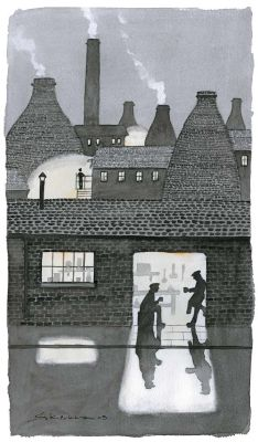 The Saggar Maker & His Bottom Knocker Take Five Night Illustration, Take Five, World Street, Stoke On Trent, Pottery Painting, Reading Room, Limited Edition Prints, Large Prints, Fine Art Paper