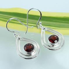 925 Solid Sterling Silver Genuine Red GARNET Gemstones Antique Style Earrings #SunriseJewellers #DropDangle