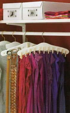 Hang Clothespins To A Hanger To Hang Scarfs And Nails For Belts !