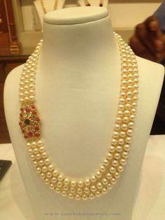 Three Layer Pearl Mala with Ruby Side Locket ~ South India Jewels Gold Jewellery Design, Bead Jewellery, Pearl Jewelry, Indian Jewelry, Wedding Jewelry, Diamond Jewellery, Gold Jewelry, Diamond Choker, Jewlery