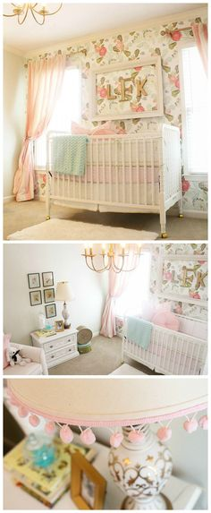 Floral Vintage Glam Nursery- love the watercolor peony wallpaper accent wall and gold accents!