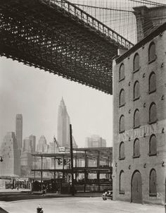 Brooklyn Bridge, Water and Dock Streets, Brooklyn, 1936; photo by Berenice Abbott