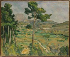 https://www.metmuseum.org/toah/works-of-art/29.100.64/  good link  Paul Cézanne's Mont Sainte-Victoire and the Viaduct of the Arc River Valley (1882-85)   Works well with his other painting from the time period (Seated Peasant) that are celebrating the nobility of the working class. This painting rather celebrates the beauty of rural spaces. The railroad in the background is reminiscent of roman construction. Giving the impression of longevity and solidity.