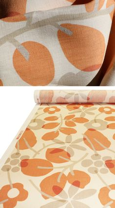 """From the """"Hip Chics"""" collection by Braemore this fantastic modern floral is a fresh blend of tangerine orange, taupe and ivory cream with a few bits of soft sage green. $29.95 USD per yard"""