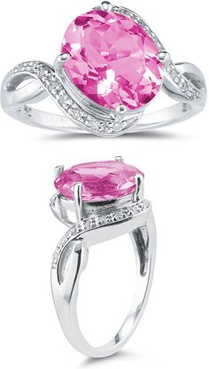 3.10 Carat Pink Topaz and Diamond Ring
