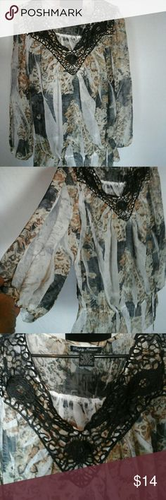 Nwot sheer blouse  sz 3xl Blouse ties at hips , very loose fitting for comfort,  elastic cuffs on sleeves. Simply  Irresistible  Tops Blouses