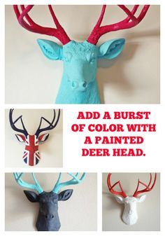 Painted Deer Head; Etsy; Handmade; Wall Decoration; Burst Of Color
