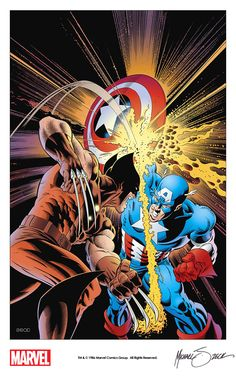 Wolverine vs. Captain America by Mike Zeck from the iconic cover of Captain America Annual #8 (1986)