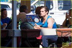 26 SEP 2013 : Henry Cavill  filming a scene on a boat in the water for The Man from U.N.C.L.E. on Thu (Sep 26) in Naples, Italy