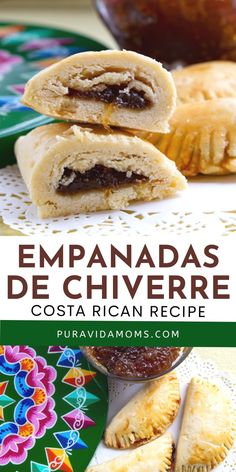 These empanadas are made with flour, butter or margarine, sweet cream and of course traditional Costa Rican chiverre jam. Serve with coffee, agua dulce or your favorite hot tea. Empanadas, Costa Rican Desserts, Latin American Food, Salmon Burgers, Butter, Bread, Traditional, Coffee, Hot