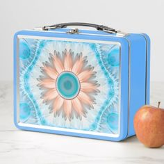 #Clean and Pure Turquoise and White Fractal Flower Metal Lunch Box - #flower gifts floral flowers diy