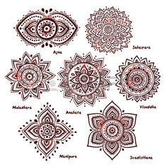 Isolated Set of beautiful ornamental 7 chakras  photo