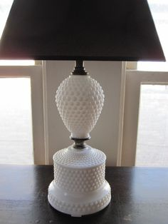 Vintage White Hobnail Milk Glass Lamp (so Chic)