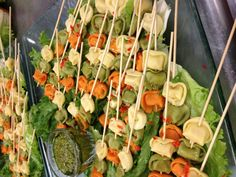Tortellini skewers for passed appetizers