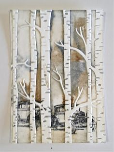 handmade card from distINKtive STAMPING designs: Woodland Cars ... Birch Trees Embossing Folder  ... with inking and stamping right on the folder ... awesome technique explained on the blog ...Stampin' Up!