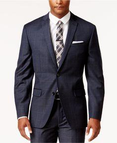 Bar III Men's Slim-Fit Navy and Tan Windowpane Jacket, Only at Macy's - Blazers & Sport Coats - Men - Macy's