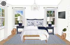 View this Coastal Bedroom design from Havenly interior designer Sydney. Shop products and even get started designing your own space. Cheap Furniture, Kitchen Furniture, Furniture Design, Coastal Bedrooms, Furniture Movers, Showcase Design, New Room, Space Saving, Master Bedroom