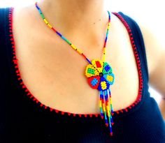 Mandala Beaded Necklace - Mexican Huichol Peyote flower - Boho Chic and Bohemial soul Jewelry