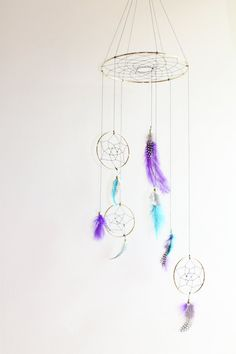 Teal and Purple Dreamcatcher Mobile Polkadot by WhitehallFarmMD