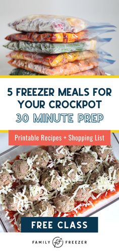 Meal planning made simple. We've taken care of the recipes, grocery list and the meal planning. Watch NOW to learn how to make five healthy freezer meals in 30 minutes. You're just an email sign up away from getting these quick and delicious crockpot meals. Save yourself time and money and signup today!