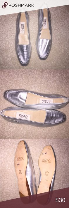 Like New Enzo flats Like New silver Enzo leather flats!     ✂️SAVE 15% AUTOMATICALLY AT CHECKOUT WHEN YOU BUNDLE TWO ITEMS OR SAVE 20% OFF THREE OR MORE ITEMS BY MAKING AN OFFER ON YOUR BUNDLE✂️ Enzo Angiolini Shoes Flats & Loafers