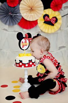 Minnie Mouse Birthday Cake Stick, Cake Smash, Yellow Polka Dot Red Birthday decorations