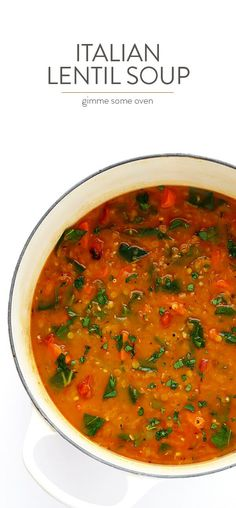 Italian Lentil Soup -- this delicious soup is easy to make, and so comforting! It's naturally vegetarian (or vegan), but feel free to add in Italian sausage if you'd like extra protein. | gimmesomeoven.com