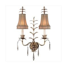 Fine Art Lamps 409050ST Pastiche Two-Light Wall Sconce with Delicate ($1,924) ❤ liked on Polyvore featuring home, lighting, wall lights, indoor lighting, wall sconces, warm silver leaf, fine art lamps, handmade lights, handmade lamps and leaf lamp