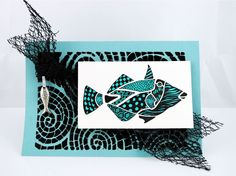 #Cre8time for an awesome fish zentangle card! #Stampendous #DWStencils #MayArts