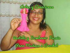 Vestido Y Sombrero Fucsia Para Muñeca A Crochet SUSCRIBANCE A MI CANAL Pag. Facebbok: https://www.facebook.com/Artes-y-Creaciones-Sharmilla-682902008477363/ ...
