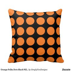 Orange Polka Dots Black Pillow