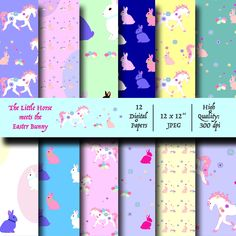 Cute Easter-themed digital papers for gift wrapping and scrapbooking! Visit me on Etsy #easter #easter bunny #horse #easter collage
