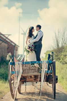 | A Rustic Farm Wedding | Botanical Theme | Horse And Cart | Incredible Dessert Table By Couture Cakes | Images From Dottie Photography | http://www.rockmywedding.co.uk/katie-ian/
