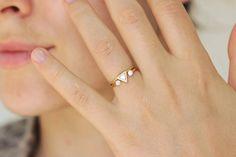 0.25 Carat Trillion Diamond Ring Diamond Engagement by artemer | STACKED THREE STONE SETTING. THIS IS GENIUS.