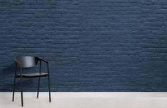 Welcome modern tones to your interior theme in a cool brick style, with this navy blue brick wallpaper, a sleek mural. Brick Interior, Interior Paint, Brick Wallpaper Mural, Painted Brick Walls, Best Bath, Contemporary Interior Design, Deep Blue, Wall Murals, Decoration