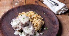 Μοσχαράκι λεμονάτο με καστανό ρύζι