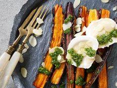 Gegrillte Karotten / Ziegenkäse / Basilikumpesto