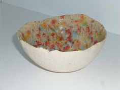 Earthenware Ceramic Rainbow Kaleidoscope Decorative Bowl by KrTPottery on Etsy