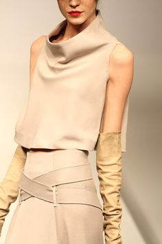 Minimal - nude monochrome. Funnel/cowl neck boxy crop, nude skirt