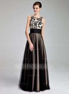 A-Line/Princess Scoop Neck Floor-Length Tulle Prom Dress With Ruffle Lace (018019083) - JJsHouse
