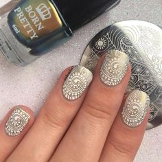 Great stamping nails design, try it and more details shared in bornprettystore.com